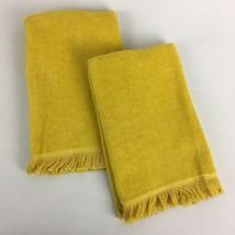 "VTG Set Pair Harvest Golden Yellow 16"" Fingertip Hand Towels Martex Mid ... - $13.38"