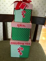 3 Stacked Fabric Holiday Boxes Tabletop Decor Under tree Polka Dot Red R... - $15.00