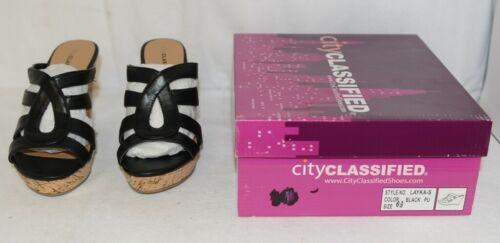 City Classified Layka S Black Sandal Wedge Heel Size 6 And Half