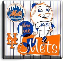 RETRO MR MET NEW YORK METS BASEBALL TEAM 2 GANG LIGHT SWITCH PLATE ROOM ... - $12.99