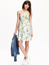 Old Navy Women Dress 4 Tube Strapless Green Blue White Floral Lace Flare... - $32.66