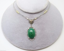 10K Gold Art Deco Malachite Necklace with Seed Pearls (#3172) - $363.38