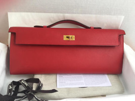 NWT Authentic Hermes Red Vermillion Swift Kelly Cut Clutch Gold Hardware - $9,999.99