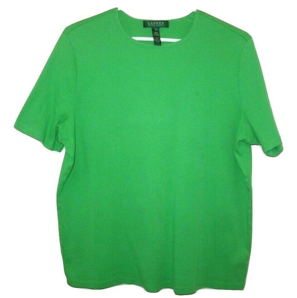 Ralph Lauren Women's 1X Tee Shirt Kelly Green w Embroidered LRL Chest Logo, EC
