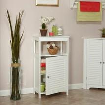 White Bathroom Floor Cabinet Wooden Storage Organizer Towel Linen Shelve... - $99.89