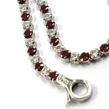 18K WHITE GOLD TENNIS BRACELET RED CUBIC ZIRCONIA 2.5mm LOBSTER CLASP CLOSURE image 3