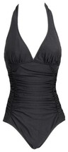 J Crew D-Cup Ruched Halter One Piece Swimsuit Bathing Suit 4 B6833 Black - $36.79