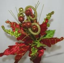 Regency int MTX45622 Red Green Poinsetta Curly Spray Decorative Balls image 2