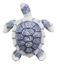 "Terracotta Blue And White Feng Shui Celestial Sea Turtle Statue 6""Wide - £13.88 GBP"