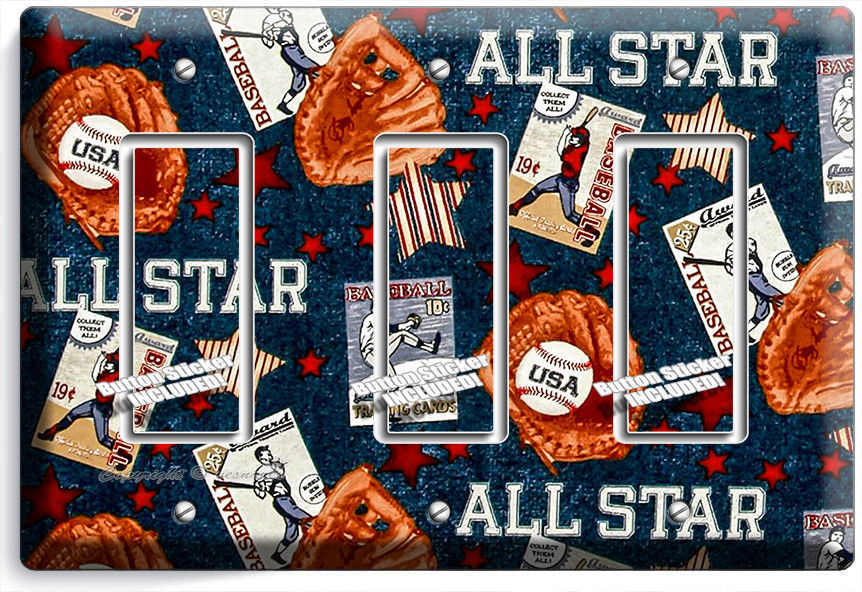 Primary image for BASEBALL VINTAGE ALL STAR TRIPLE ROCKER LIGHT SWITCH POWER WALL PLATE ROOM DECOR