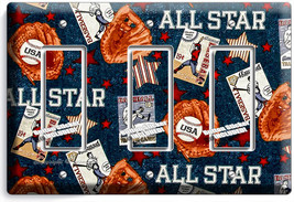 Baseball Vintage All Star Triple Rocker Light Switch Power Wall Plate Room Decor - $16.17