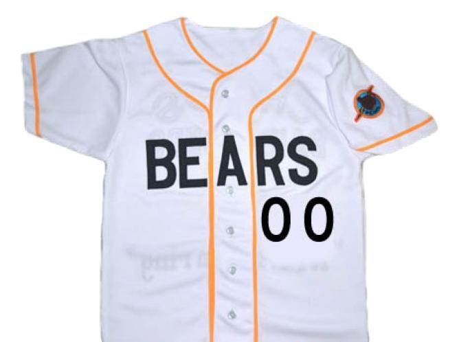 Custom number bad news bears movie baseball button down jersey white 1