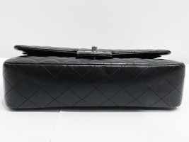 SALE Authentic Chanel BLACK QUILTED LAMBSKIN MEDIUM CLASSIC DOUBLE FLAP BAG SHW image 5