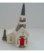 vintage ceramic white with gray trim  Christmas church tea light candle ... - $19.75