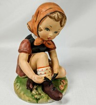 Eric Stauffer 1960's CERAMIC Open Laces Girl Figurine Arnart Imports U8248 - $18.69