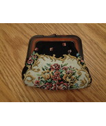 Vintage Tapestry Change Purse Celluloid / Bakelite ? Flowers - $10.00