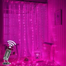 Obrecis Pink Icicle Curtain Lights 300 LED 8 Modes USB Remote Control Co... - $17.35