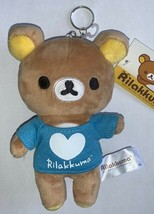 "San-X Authentic Licensed Kawaii Rilakkuma 6.5"" Plush in Blue Shirt Keych... - $11.99"
