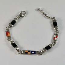 Wristwatch silver 925 rhodium deposition with enamel nautical flags image 1