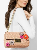 NWT! Michael Kors Leather Flora Applique Sloan Shoulder Bag in Oyster - $279.00
