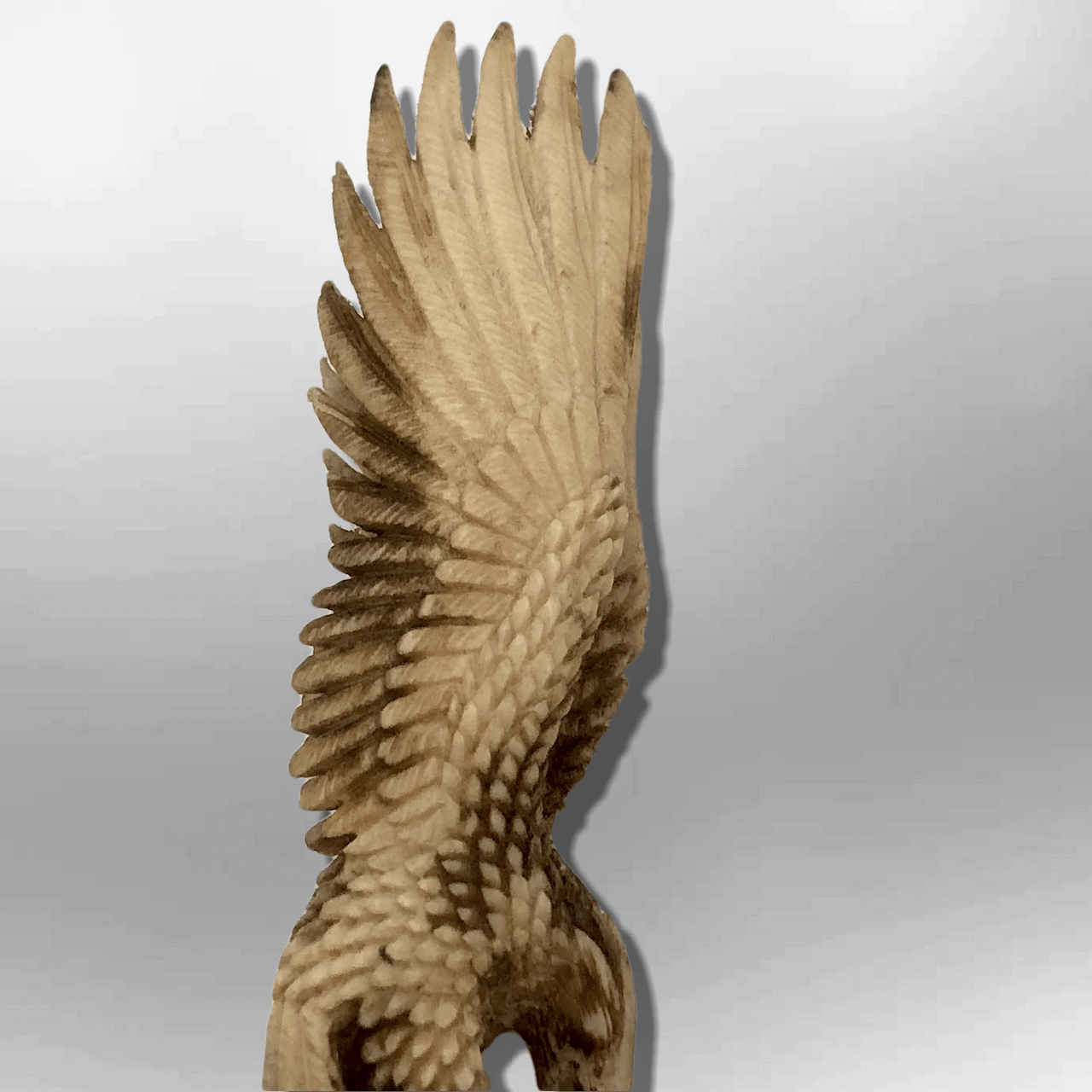 Bone Carved Handmade Full Landing Eagle Full Body No Paint Feather Detailed No W image 4