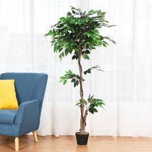 5.5 ft Artificial Ficus Silk Tree with Wood Trunks - $96.19