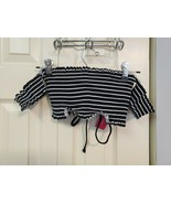 Xhilaration XS black and white striped lace up crop top - $10.30