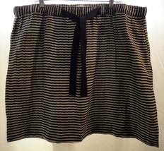 ANN TAYLOR LOFT Black & Gray Striped Linen Blend Short Skirt Ribbon Belt... - $24.49