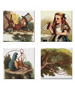 Alice In Wonderland Ceramic Color Tile Set Of 4 Decorative Backsplash Ti... - $47.49