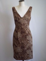 Jessica Howard Animal Cheetah Line Deep Neck Empire Sleeveless Dress Size 8 - €12,69 EUR