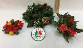 Christmas Candle Rings Pillar & Taper Berries Pine Cones Poinsettias Lot... - $12.86