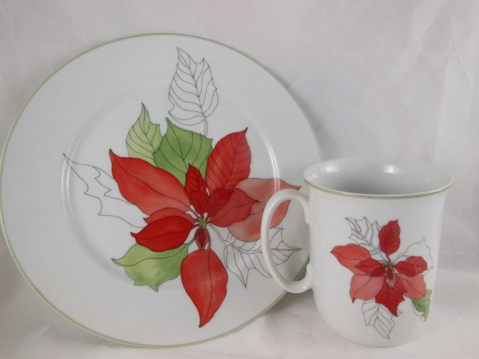 Primary image for Vtg Block Spal Poinsettia Coffee Cup & Dessert Plate Mary Lou Goertzen Portugal
