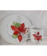 Vtg Block Spal Poinsettia Coffee Cup & Dessert Plate Mary Lou Goertzen P... - $20.76