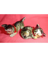 Dark Tabby Playful Kitten Cats Salt and Pepper Shakers Ceramic Vintage - $25.99