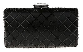 New Rhinestone Quilted Clutch Evening Bag Wedding Package 2-Black