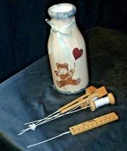 Hand Painted Vase with Kitchen Utilizes Decor AB 54a Vintage image 2