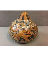Vintage Mexican Folk Art Hand-Painted Lacquered Gourd Rattle Mexico - $27.71