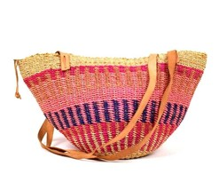 Vtg Woven Straw Beach Tote Bag Shoulder Baja Bucket Purse Pink Tan Leath... - $39.59