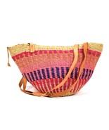 Vtg Woven Straw Beach Tote Bag Shoulder Baja Bucket Purse Pink Tan Leath... - $39.59
