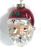 "Vintage Small Christmas Ornament Santa Head Blown Glass 3""  - $9.79"
