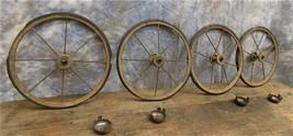 4 Vintage Metal Spoke Baby Buggy Wheels Pedal Car Garden Cart Pumpkin Wa... - $99.00