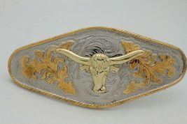 Hombre Western Cowboys Cinturón Hebilla Metal Plata Rodeo Largo Oro Texas Cuerno image 7