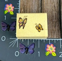 Uptown Rubber Stamps Two Butterflies Rubber Stamp Wood Mount #N95 - $5.93