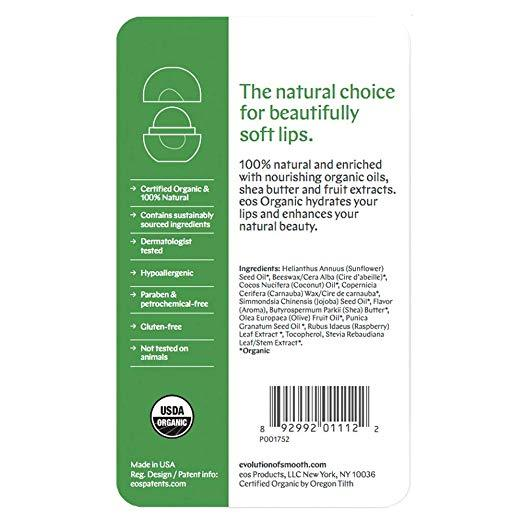 eos Organic Lip Balm Sphere - Pomegranate Raspberry | Certified Organic & 100% N