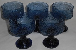 Set (5) Mid Century LENOX Impromptu Pattern BLUE CHAMPAGNES Hand Blown USA - $23.75