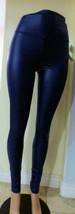 """Junior's Wide 4.5""""  Waistband Smooth Faux Leather leggings, Royal Blue, M - $7.18"""