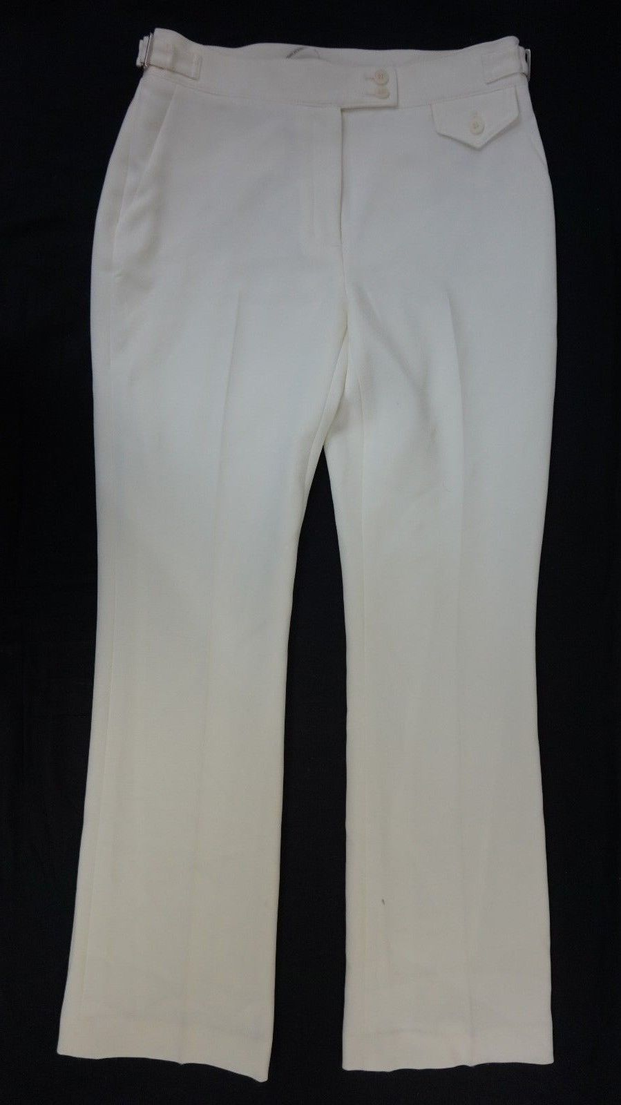 NWT Anne Klein Women's White High Waist Buckle Detail Dress Pants 6 x 34