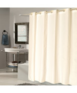 "EZ On Fabric Shower Curtain Check With Built in Hooks 70""x75"" Ivory - $26.59"