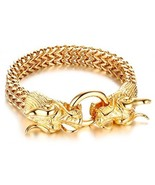 Mealguet Jewelry Fashion Gold Plated Stainless Steel Double Opposite Dra... - $55.47