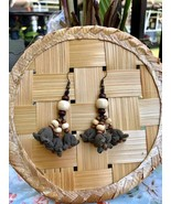 Cute flower drop Earrings, Handmade flowers with wood beads and leather ... - $21.75